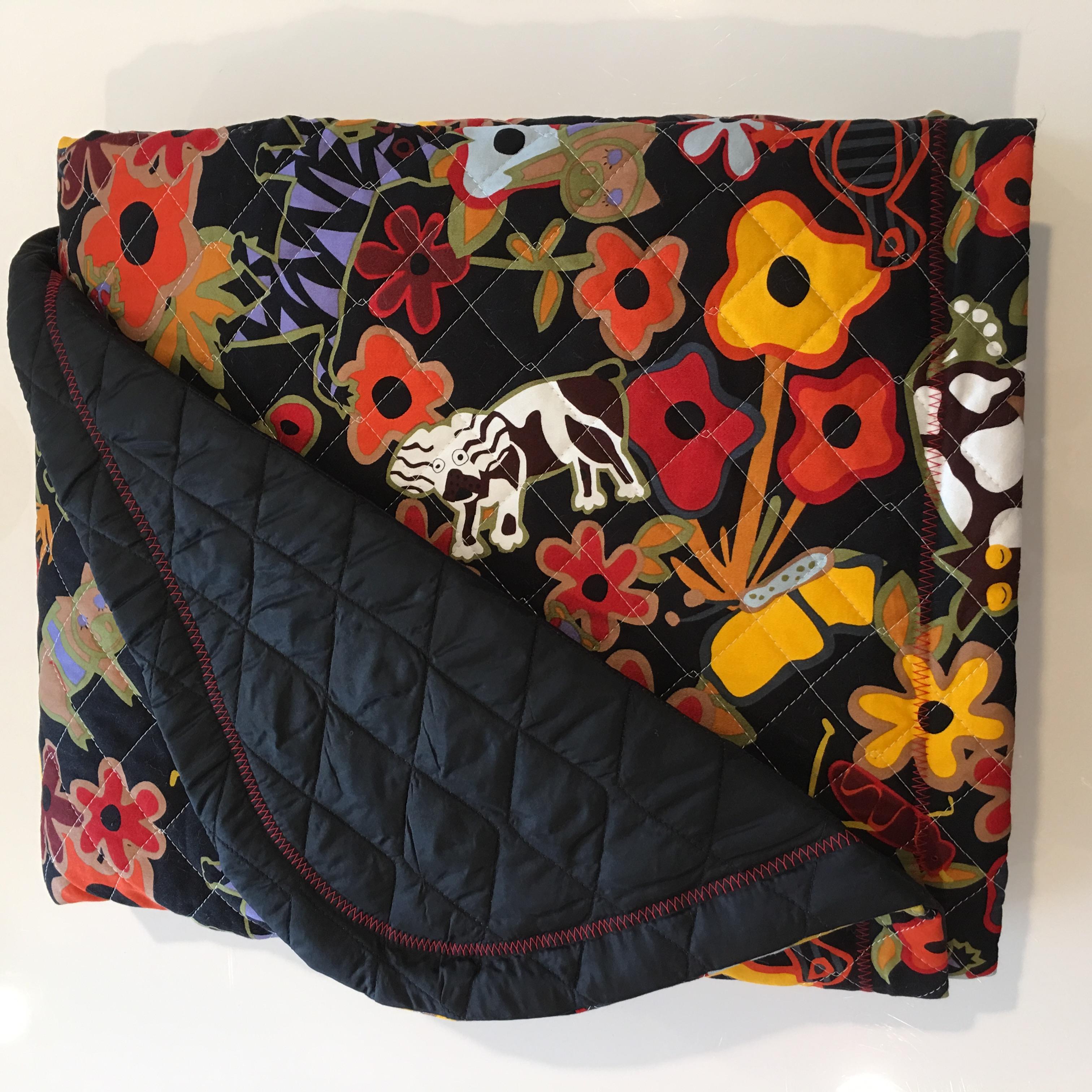 Safari silky quilt backing w black quilt floor mat for Floor quilt for babies